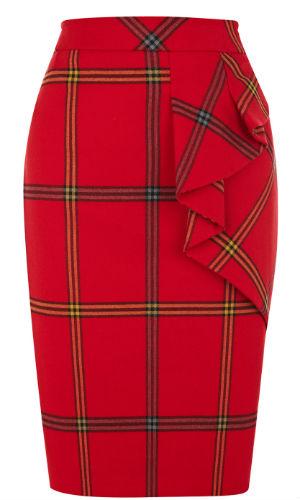 Brighten up your work wardrobe with this red tartan skirt from Karen Millen