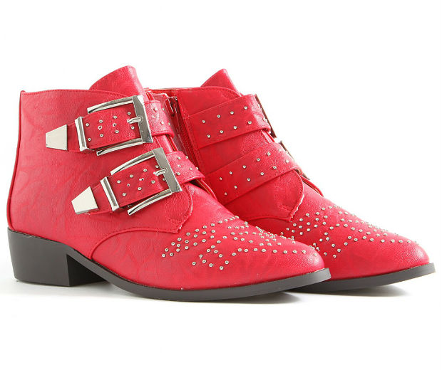 Missguided.co.uk red studded Kettina boots, £45