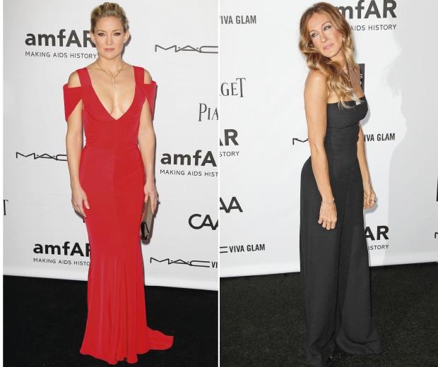 Kate Hudson And Sarah Jessica Pareker on The amFar red carpet, 2012