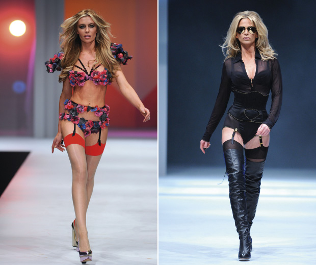 Abbey Clancy and Sarah Harding on the Catwalk at the Agent Provocateur show