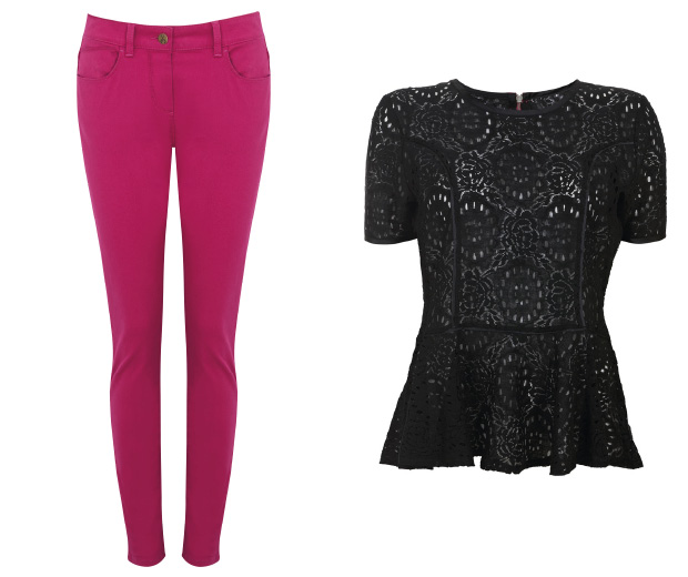M&S jeans and a Debenhams top for Breast Cancer Awareness Month