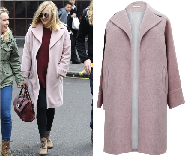 Fearne Cotton looks pretty as a picture in this pink Marks & Spencer coat