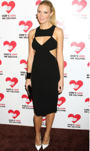 Gwyneth Paltrow wearing a cut-out Michael Kors black dress at a charity dinner in New York