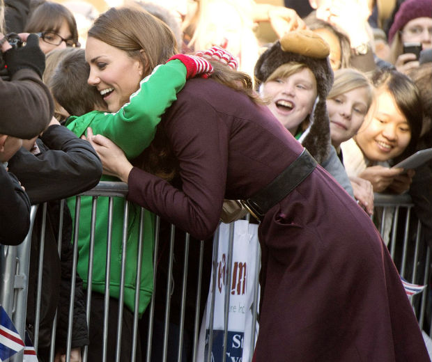 Kate Middleton hugged Newcastle schoolboy Terry Campbell today!