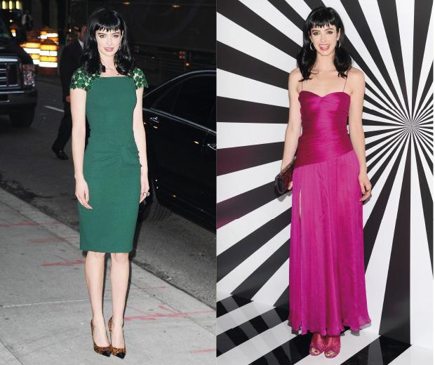 Krysten Ritter wears two jewel coloured dresses in one day in New York