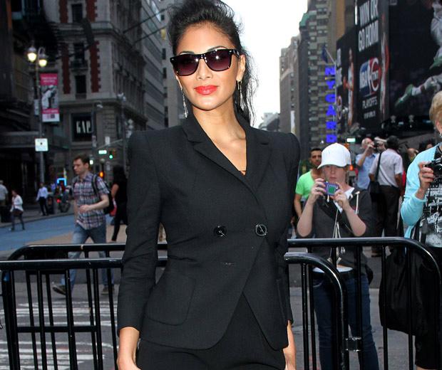 Nicole Scherzinger wearing a black blazer, 2012