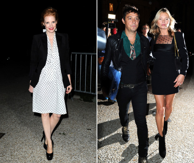 Kate Moss and Jessica Chastain work polka dots at Paris Fashion Week SS13