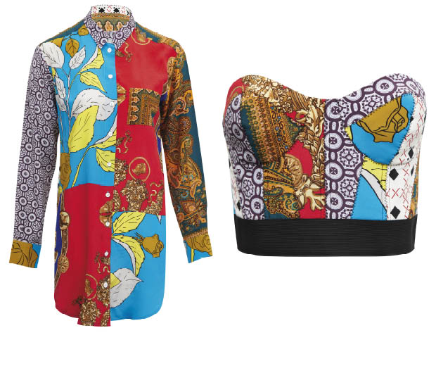 A printed shirt, £65, and bustier, £45, from Asos' limited edition Patchwork Collection
