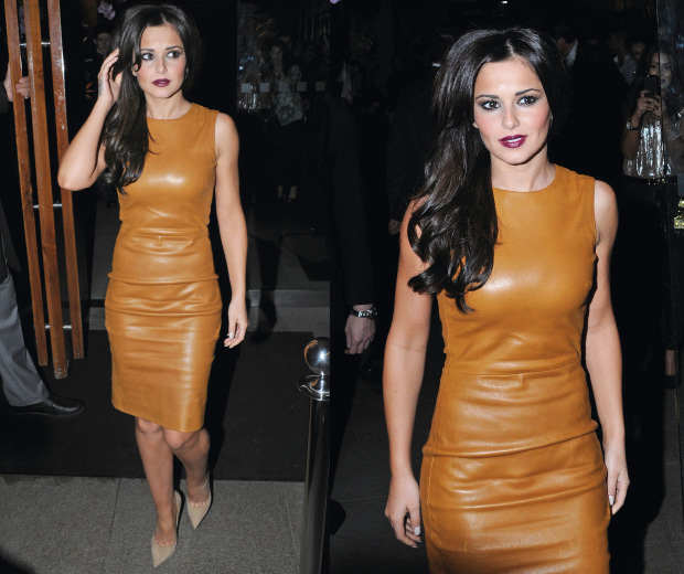 Cheryl Cole looks stunning in leather as she joins the rest of Girls Aloud for dinner.