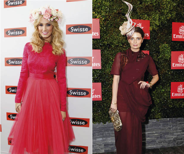 Delta Goodrem and Mischa Barton battle it out in the floral fascinator stakes
