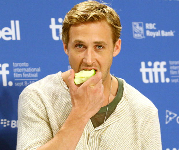 Ryan Gosling is as good for you as that apple he's eating...