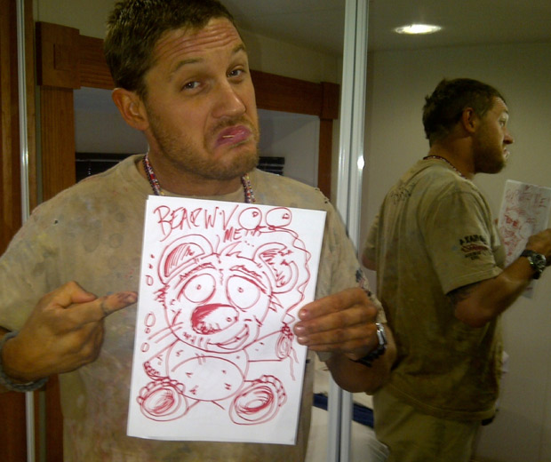 Tom Hardy shows off his artwork on set in Namibia!