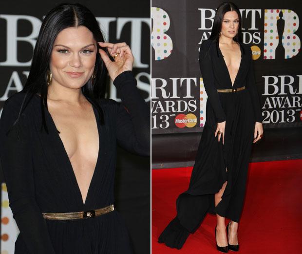 Jessie J started off the night wearing a stunning black Versace dress