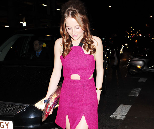 Rosie Fortescue wore a gorgeous pink dress by 3 Floor to Rihanna's show