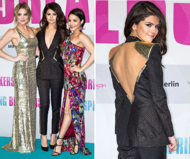 The girls dithced their Spring Breakers bikinis for a smart, edgy red carpet look