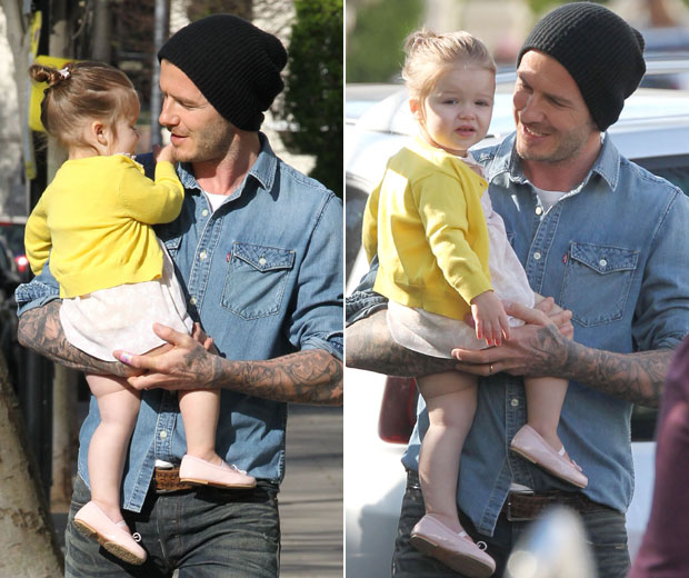 David Beckham stepped out in the sunshine with Harper today