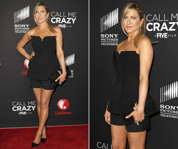 Jennifer Aniston ditched her trademark LBD for a tiny playsuit on the red carpet in LA