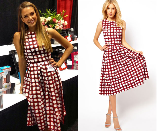 Get Jessica's look with this gorgeous red-and-white brick print Asos dress
