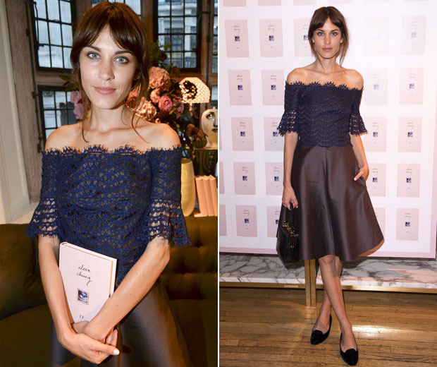 Alexa looked chic in a lace top and silk skirt at her London book signing