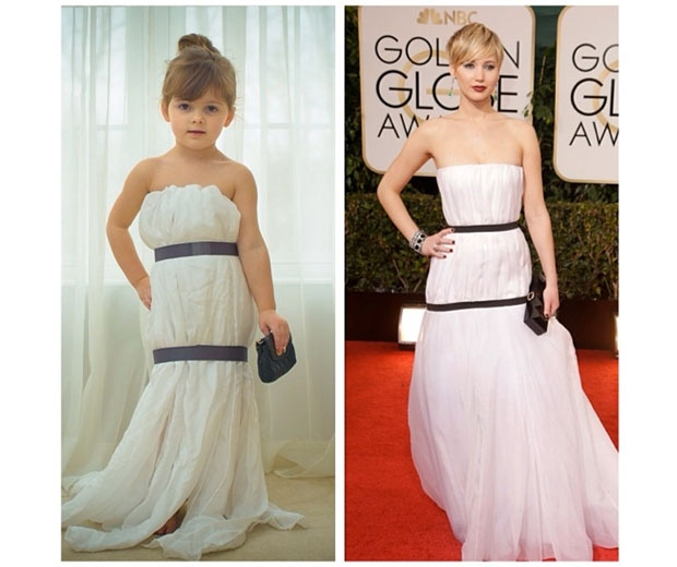 4 year-old Mayhem and mum Angie recreat J-Law's dress