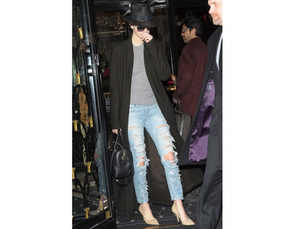 kendall jenner in ripped jeans and a duster coat in paris
