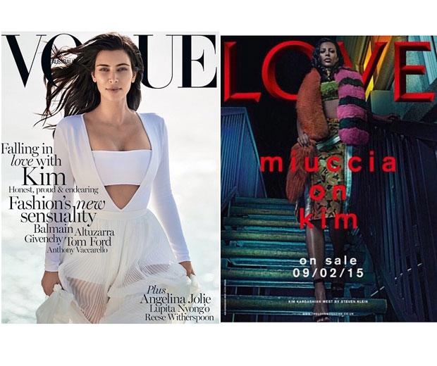 Kim Kardashian's Vogue and Love covers.