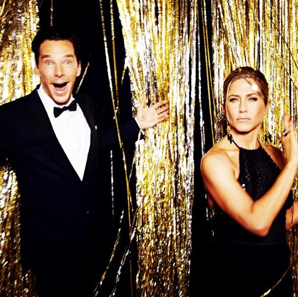 Benedict Cumberbatch and Jennifer Aniston at The Golden Globes 2015