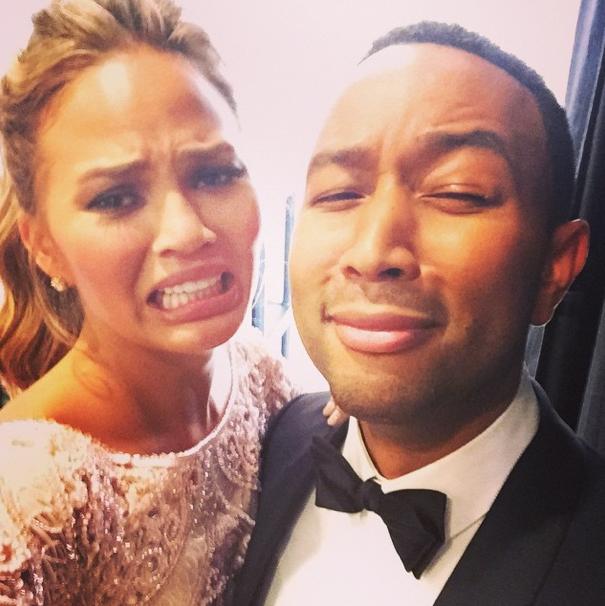 Chrissy Teigen and John Legend at the Golden Globes 2015