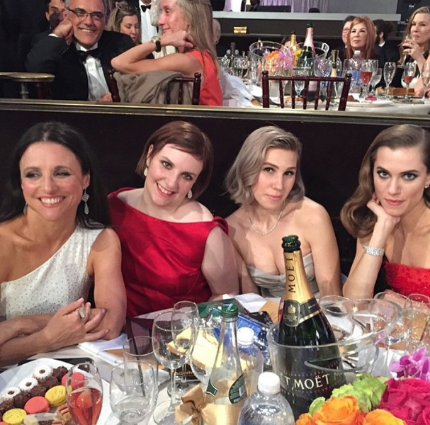 Lena Dunham, Zosia Mamet and Alison Williams at the Golden Globes 2015