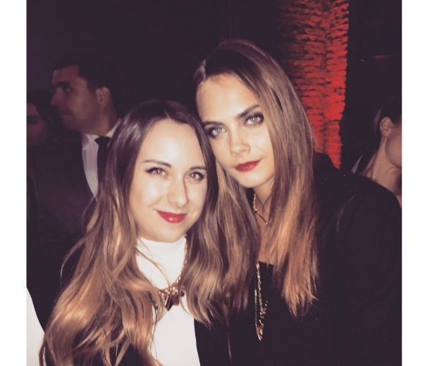 Victoria and Cara hanging out at the party