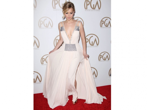 jennifer lawrence in a white prada gown at the PGAs