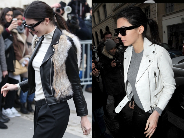 Kendall Jenner in a faux fur gilet and a leather jacket