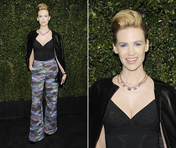 January Jones rocks bright blue eye make up