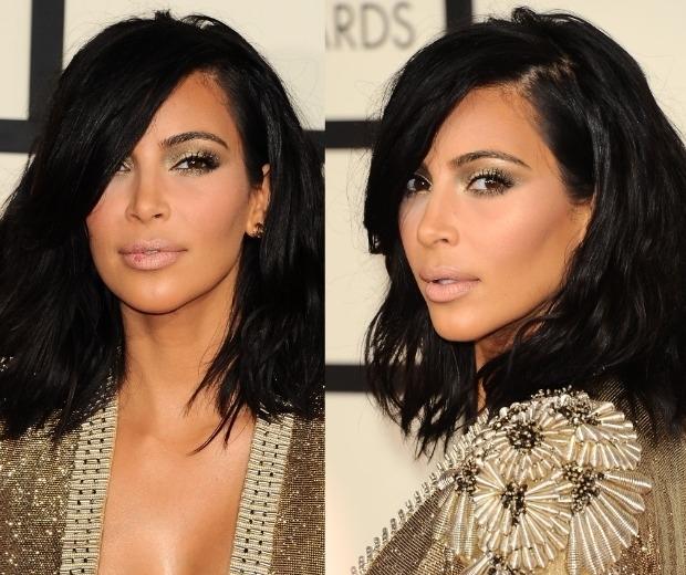 kim kardashian in a gold dress at the grammys