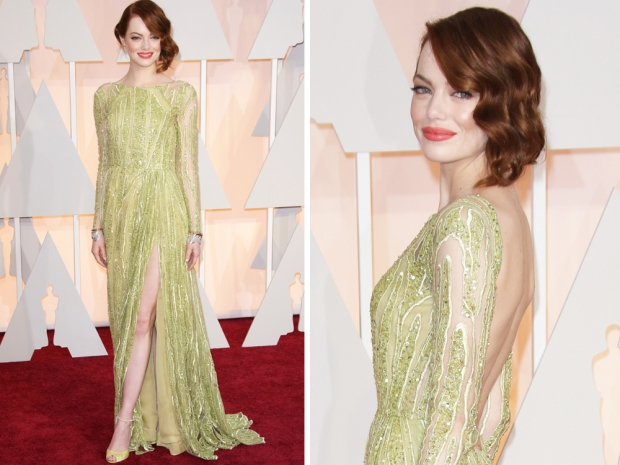 emma stone in elie saab at the oscars 2015