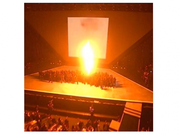 Kanye West performing on stage at the BRIT Awards
