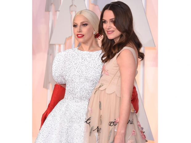 keira knightley and lady gaga at the oscars 2015