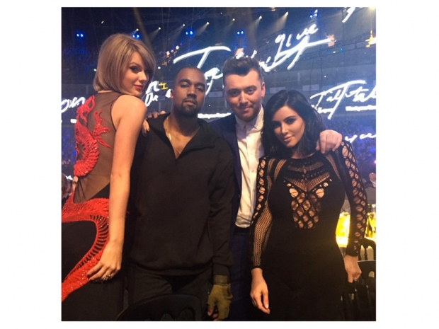 taylor swift at the brits with Kanye West, Sam Smith and Kim Kardashian