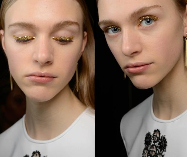 New York Fashion week gold glitter eye make-up