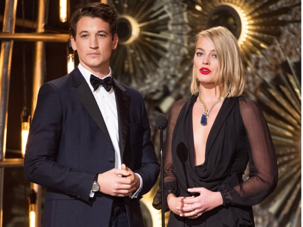 margot robbie and miles teller at the oscars