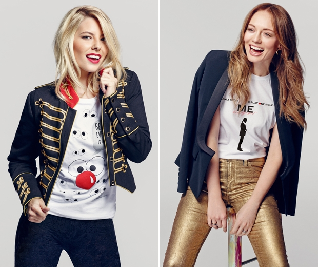 Mollie King and Laura Haddock in their charity tees