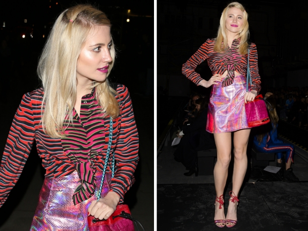 pixie lott at london fashion week in pink animal print