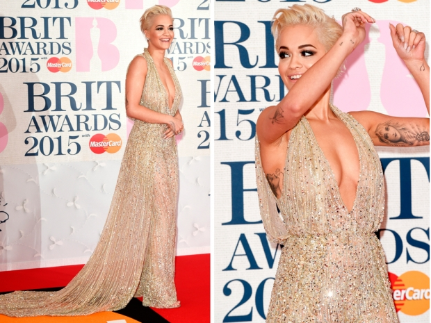 rita ora in a gold beaded jumpsuit with a train at the brit awards 2015