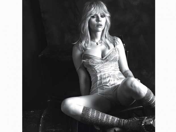Scarlett Johansson in a wig and satin bodice for W Magazine