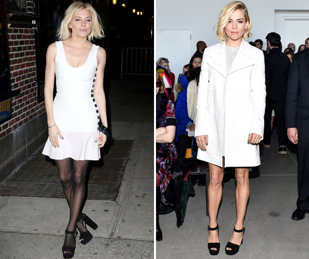 Sienna's 'all white' in Victoria Beckham and Calvin Klein