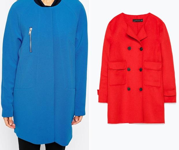 Asos Blue Coat £110 - Zara Red Coat £109