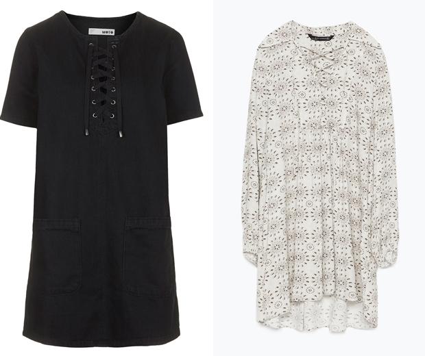 Topshop Denim Lace-Up Dress £40, Zara Eyelet Gathered Print Dress £59.99