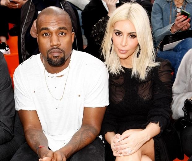 kim kardashian with platinum blonde hair with kanye west