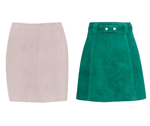 french connection pink suede skirt and h & m green suede skirt