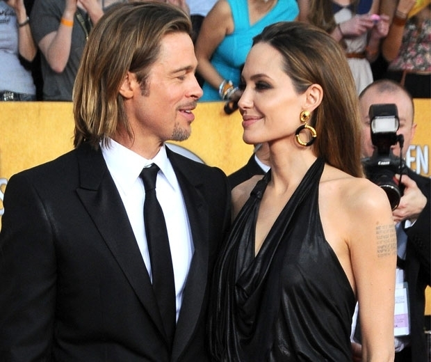 Angelina Jolie and husband Brad Pitt on the red carpet